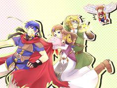 Smash Bros art with Ike, Kirby, Zelda, Link, Pit, and Mario