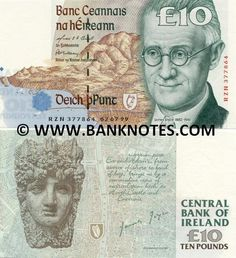 "Ireland 10 Pounds 1993-1999 Front: Writer James Joyce; Dublin and Wicklow and Dublin Bay depicted. Back: One of the fourteen heads on The Custom House, Dublin by Edward Smyth; The head represents River Liffey; A nineteenth century map of Dublin; Part of ""Finnegans Wake"", James Joyce's final novel signed by James Joyce. Watermark: Lady Hazel Lavery."