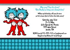 Thing 1 and Thing 2 Baby Shower Invitation. $14.00, via Etsy.