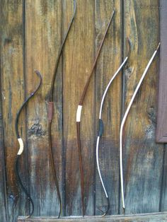 An assortment of bows. Scythian composite, two Asian angular composites, Crimean Tatar composite, and Asian short bow.