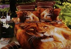 girlsbeddingplus.com - Lioness 4PC Bed Set, 3D look Lioness 4PC Bed Set    Random changes with the weaving grain, highlights the strong artistic atmosphere, producing rich and natural colors.The activity of genes and fiber dye molecules combined, make dyes and fiber as a whole, thus making the fabric non fade.  Free Shipping  (http://www.girlsbeddingplus.com/lioness-4pc-bed-set/)