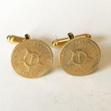 Vintage gold plated Circa 1920 Cuban coin cufflinks