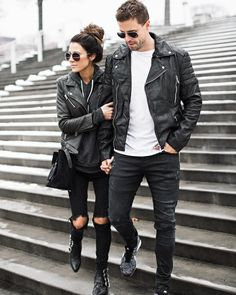 Been so obsessed with #leatherjackets lately! This all black look on the blog today with @codywestonandrew   #wiw #couplestyle by hellofashionblog