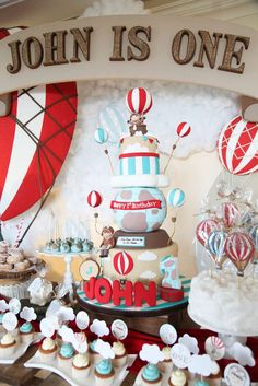 Outstanding rustic hot air balloon birthday party! See more party planning ideas at CatchMyParty.com!