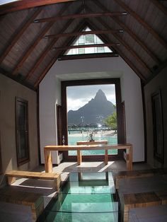 Glass floor wedding chapel Bora Bora, maybe to renew our vows?  dream dream