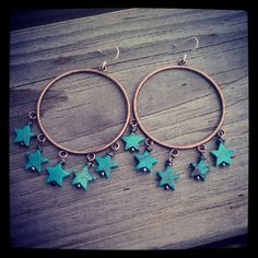 Jewelry of the day. Turquoise star hoops earrings.