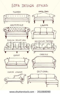 furniture sketch Vector visual guide of sofa design styles. Hand drawn sofa set made in linear style. Beautiful design elements, perfect for any business related to the furniture industry. Interior Architecture Drawing, Architecture Concept Drawings, Interior Design Sketches, Home Interior Design, Interior Design Elements, Classical Architecture, Sketch Design, Interior Paint, Bungalow Haus Design