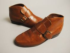 Vintage monk strap leather booties !!!