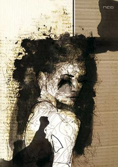 "Portraits by French artist Florian Nicolle. ""Alice"" Copyright 2009 Florian Nicolle, All Rights Reserved. ""Clara"" Copyright 2009 Florian Nicolle, All Art And Illustration, Illustrations, Arte Yin Yang, Inspiration Art, Ap Art, Art Fr, Mixed Media Artists, Mixed Media Artwork, Mixed Media Painting"