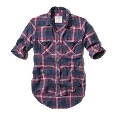 Abercrombie & Fitch Blair Plaid Shirt ($23) ❤ liked on Polyvore featuring tops, shirts, camisas, flannel, navy plaid, flannel shirts, vintage button up shirts, plaid button down shirt, button down tops and plaid button up shirts