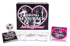 (COMING SOON!) Bring Sexy Back...Into the Bedroom! Bring Sexy Back is an exciting game for lovers who want add a little experimentation and imagination into their sex lives and turn every sex session into their own fantasy adventure. Enjoy many new levels of sexual fulfillment, guaranteed to bring the Sexy Back into your Bedroom!   Contents: 1 Activity Die, 90 Activity Cards, and 1 Game Spinner