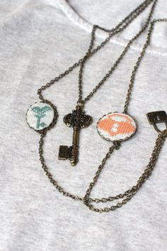 Lock and Key vintage necklace - Hand-embroidered lock and key necklace - Cross stitch jewelry