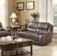 Allenwood Transitional Dark Brown Leather Double Reclining Loveseat