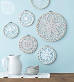 Style at Home managing editor and resident crafter Catherine Therrien shows you . Style at Home managing editor and resident crafter Catherine Therrien shows you how to update Grandma& doilies to create wintry wall art. Doilies Crafts, Crochet Doilies, Crochet Mandala, Embroidery Hoop Art, Vintage Embroidery, Embroidery Ideas, Diy Wall Art, Diy Wall Decor, Hanging Wall Art