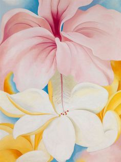 """""""Hibiscus with Plumeria,"""" Georgia O'Keeffe, oil on canvas, 40 x Smithsonian American Art Museum, partial and promised gift of Sam Rose and Julie Walters. Alfred Stieglitz, Wisconsin, Pinturas De Georgia O'keeffe, Hibiscus, Georgia O'keefe Art, Georgia O Keeffe Paintings, Hawaii Painting, Tableaux Vivants, Ouvrages D'art"""