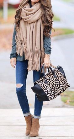 #fall #fashion ·  Frindge Scarf + Suede Ankle Boots + Leopard Tote ...love this tote!