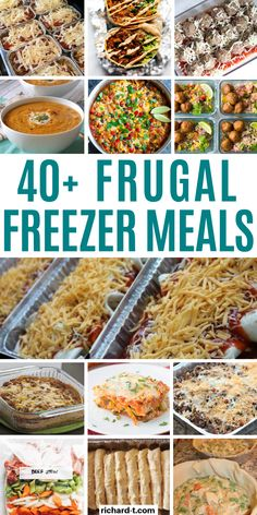 Easy Freezer Meals That'll Save You A Ton Of Time Looking for freezer meals? Then make sure to check out this list! These freezer meal recipes are the ULTIMATE list of recipes that you can make, freeze then cook later! Freezable Meals, Freezer Friendly Meals, Budget Freezer Meals, Slow Cooker Freezer Meals, Make Ahead Freezer Meals, Freezer Cooking, Frugal Meals, Easy Meals, Freezer Recipes
