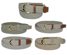 CTM Women's Elastic Braided Stretch Belt, X-Large, Brown Made by #CTM