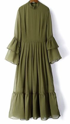 Women loose fit over plus size chiffon trumpet sleeve dress tunic fashion chic #Unbranded #dress #Casual
