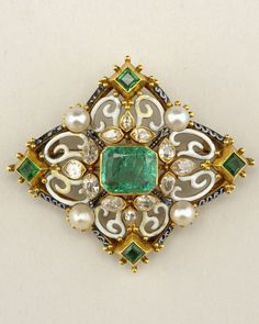 A Renaissance Revival gold, enamel, pearl, diamond and emerald brooch, by Carlo Giuliano, 19th century. 5 x 4.5cm.