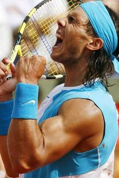 Check out the latest Rafael Nadal style and fashion trends on Coolspotters. Browse and shop for all the latest style and fashion choices of today's hottest celebrities. Rafael Nadal, Sport Tennis, Le Tennis, Soccer, Professional Tennis Players, Tennis Gifts, Coaching, Tennis Stars, Sports Stars