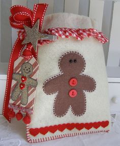 Gingerbread Man Christmas Felt Gift Bag