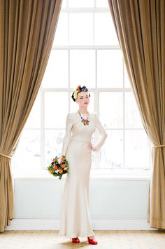 VINTAGE WEDDING DRESSES- We love the contrast between vintage inspired dresses and brightly coloured acrylic accessories in this Zoe Lem and Tatty Devine collaboration. Zoe Lem's collection of vintage inspired dresses are sure to be very popular. Photography by Rhapsody Roads.