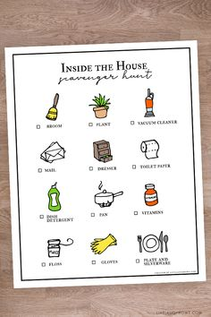 Fun boredom buster for when it's raining outside and the kiddos are a little restless. Indoor Scavenger Hunt Printable -- and it's a coloring sheet too Outdoor Scavenger Hunts, Nature Scavenger Hunts, Scavenger Hunt For Kids, I Spy Games, Word Games, Games For Kids, I Go To Work, Going To Work, Pediatric Occupational Therapy
