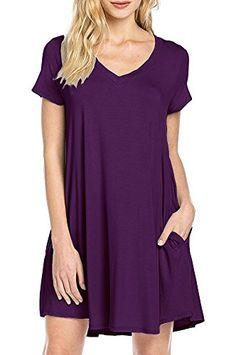 3fd8366af780 LILBETTER Women s Basic Short Sleeve Pockets Casual Plain Tshirt Dress ( Purple M)