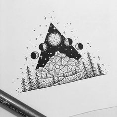 Night sky #fineliner #drawing #illustration #sketchbook #iblackwork #flash #flashaddicted #copic #felttip #blackpen #blackworkers #blackwork #tattoo #tattoodesign #graphicdesign #art #mountains #pines #triangletattoo #stars #moon #moonphases #canberra #australia