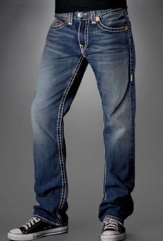 07bcf3d0a True Religion Bobby Super T Mens Straight Leg Jeans Size 33 Thick Stitch  USA
