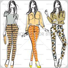 Patterned pants vector sketch. ®Yordanka Poleganova