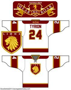 Hockey Jersey Designs For Geeks Ice Hockey Jersey, Jersey Boys, Casterly Rock, Hershey Bears, Soccer Uniforms, Team Wear, Chicago Blackhawks, Lions, Fun