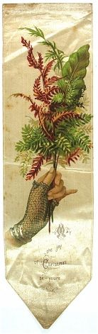 'May the joy of Christmas be yours' - antique bookmark, printed on silk.