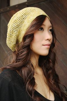 Yellow Citron Beanie - Crocheted Hat - Hand Dyed Cotton, Autumn accessory, honey mustard yellow, 10% OFF