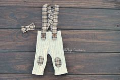 Newborn Photography Pants  Upcycled Tan Pants with Plaid Suspenders and Bow Tie by ToodleBugCreations, $26.50