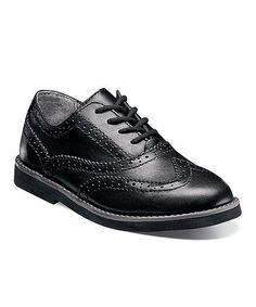 Black Smooth Bucktown Leather Wingtip Oxford - Kids