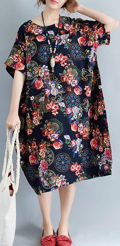 vintage-black-long-linen-dress-trendy-plus-size-prints-cotton-dress-casual-short-sleeve-linen-dress1