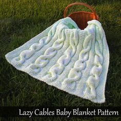 Lazy Cables Baby Blanket Knitting Pattern by AuntJanetsDesigns Boy Blankets, Knitted Baby Blankets, Baby Knitting Patterns, Crochet Gloves, Knit Crochet, Quick Knits, How To Purl Knit, Learn To Crochet, Baby Booties