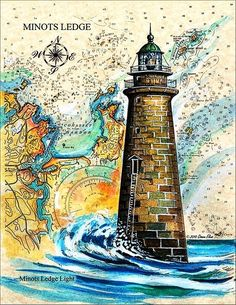Lighthouse Drawing, Lighthouse Pictures, Lighthouse Art, Map Painting, Watercolor Paintings, Mushroom Art, Fantasy Paintings, Map Art, Travel Posters