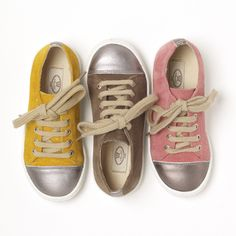 Elfie is our girls trainer. Very chic with a platinum metallic toe and beige suede or now in grey as well. Great for both younger girls and teenagers to run around in.