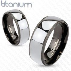8mm Grooved Edges Black Titanium with Solid Titanium Center Band Men's Ring