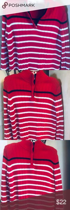 Karen Scott sport half zip mock Gorgeous, striking Karen Scott sport sweater. Dress up or dress down. Red with white and navy blue striping. Very stylish !  Mock neck with zipper.  100% cotton M Excellent condition! Karen Scott Sweaters