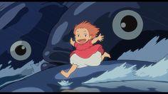 Ponyo on fish waves looking at 'camera' #Ponyo #Ghibli