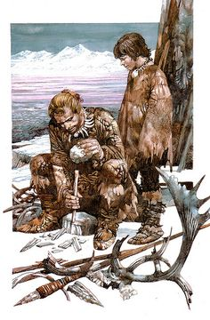 Flint knapping, beautiful illustration by Sergio Toppi Prehistoric Man, Prehistoric Animals, Paleolithic Period, Early Humans, Iron Age, Mountain Man, Ancient History, Fantasy Characters, Archaeology