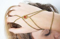 Slave Bracelet Hand Bracelet  Piece Hipster Bronze Chain Bohemian Hand Jewelry Rhinestone BRDani