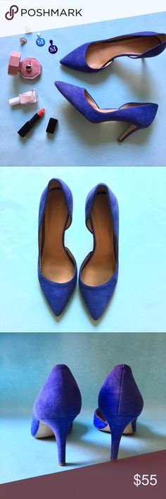 💫NEW💫 J.Crew Blue Suede D'Orsay Heels 🎶Blue suede shoes🎶 Perfect blue suede shoes in the super trendy d'Orsay cut. Worn twice, and there are no signs of wear on the suede - just the soles of the shoes as pictured. This dress up every outfit. A closet staple!   Don't like the price? 💸 Make me an offer with the button below! 👇🏻 J. Crew Shoes Heels