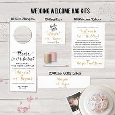Wedding Welcome Bag Kit, Destination Wedding, Wedding Favors, Welcome Bags, Thank You Notes, Water Bottle Labels, Wedding Door Hangers, Tags