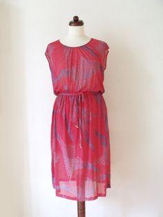 1980's Dress  Vintage Red Party Dress with von PaperdollVintageShop, €29,90