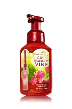 Ripe Raspberry Vine - Gentle Foaming Hand Soap - Bath & Body Works - Our Gentle Foaming Hand Soap delivers a cloud of luxurious foam that transforms into a rich, creamy lather to gently wash away dirt and germs, while soothing Aloe and nourishing Vitamin E leave hands feeling soft, smooth and lightly scented!